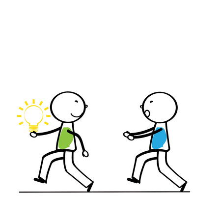 run away: Abstract business concept with simple cartoon person Illustration