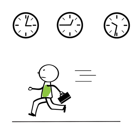 time run away: Abstract business concept with simple cartoon person Illustration