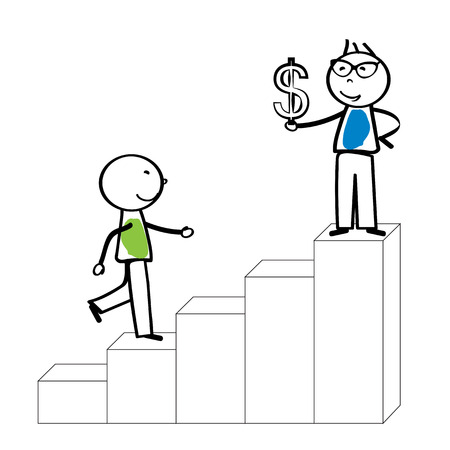 meet up: Abstract business concept with simple cartoon person Illustration