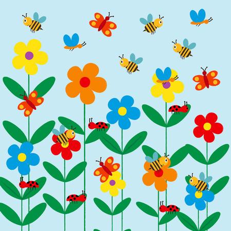 abeja caricatura: Embroma el fondo colorido y lindo con las flores, las abejas y mariposas