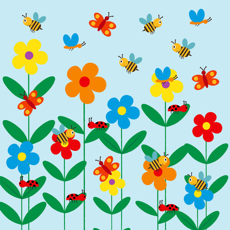 Colorful and cute kids background with flowers, bee and butterfly