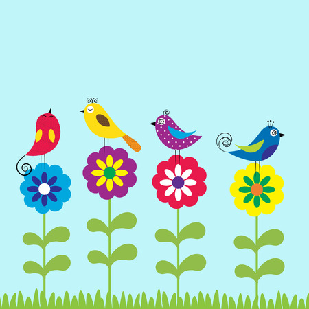 Summer flowers with colorful and funny birds Vector