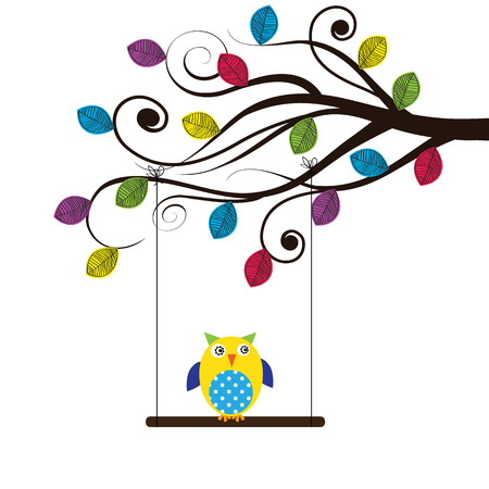 Summer tree with colorful and funny owl