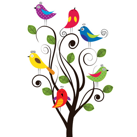 Spring tree with colorful and funny birds