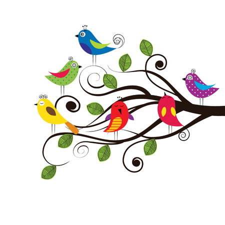 Spring tree with colorful and funny birds Vector