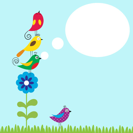 Summer flowers with colorful and funny birds Stock Illustratie