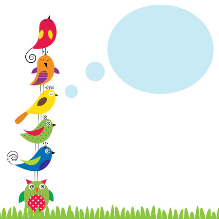 Summer background with colorful and funny birds Ilustracja