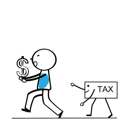 dolar: Concepto de negocio abstracto con sencillo persona de dibujos animados Vectores