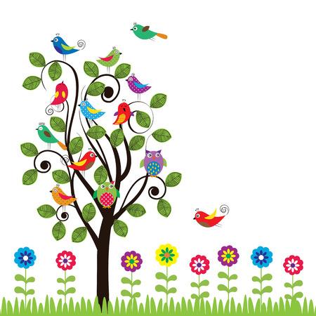 엉덩이의 새와 나무와 화려한 배경 일러스트