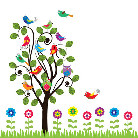 Colorful background with fanny birds and trees