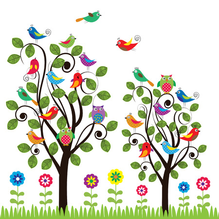 fanny: Colorful background with fanny birds and trees