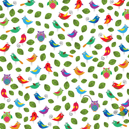 fanny: Colorful background with fanny birds and leaves