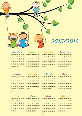 calendario escolar: Calendario escolar en el año escolar 2015-2016 year Vectores