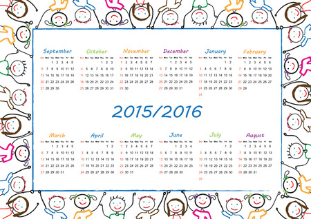 School calendar on new year school from 2015 to 2016 year Ilustrace
