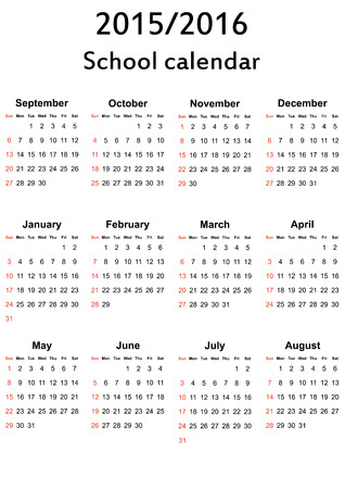 School calendar on new year school from 2015 to 2016 year Vector