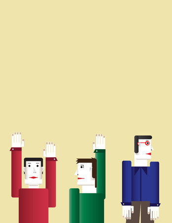 community group: Abstract business concept with creative cartoon person