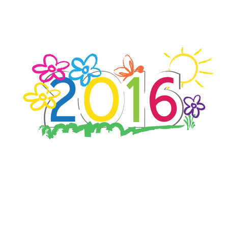 Cute and colorful card on New Year 2016