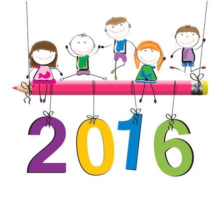 Cute and colorful card on New Year 2016 Vector