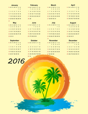 Colorful calendar for the new year 2016 Vector