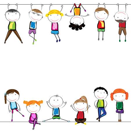 Gelukkig, gezond en kleurrijke meisjes en jongens Stock Illustratie