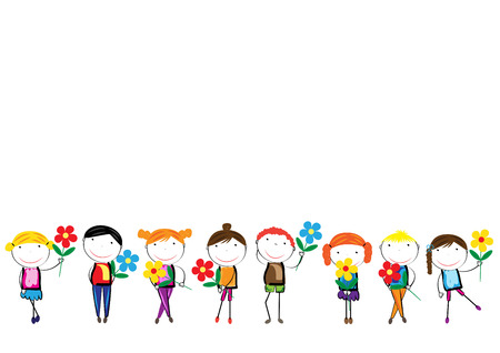 Happy, healthy and colorful girls and boys with flowers Vector