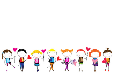 Happy, healthy and colorful girls and boys with heart Vector