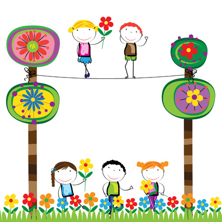 colorful tree: Happy boys and girls in garden with colorful tree