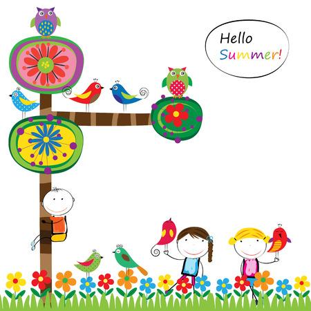 Abstract en kleurrijke zomer boom, vogels en kinderen Stockfoto - 39987388