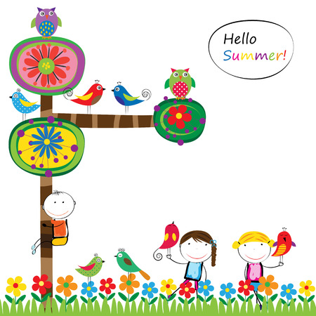 Abstract and colorful summer tree,  birds and kids Illustration
