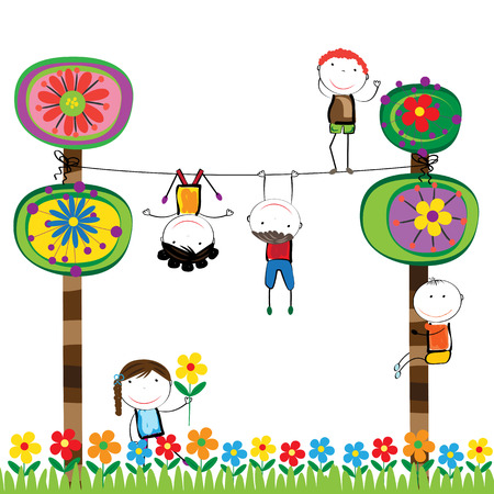 kid playing: Happy boys and girls in garden with colorful tree