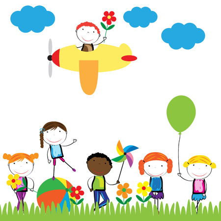 Happy, healthy and colorful girls and boys Vector