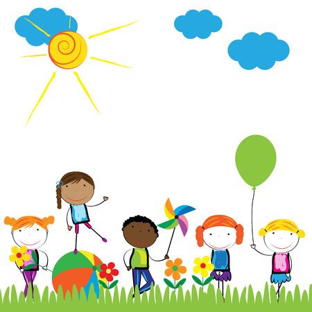 행복하고 건강하고 다채로운 소녀와 소년