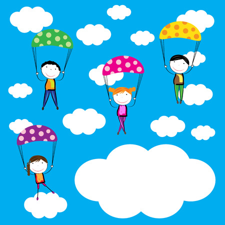 parachutist: Happy, healthy and colorful girls and boys