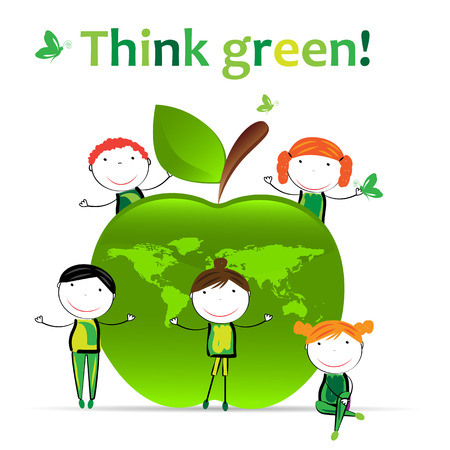 Cute boys and girls protection the earth. Illustration
