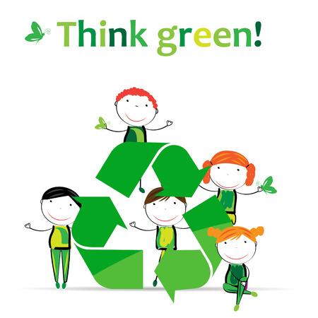 niños reciclando: Muchachos lindos y niñas de protección de la tierra.
