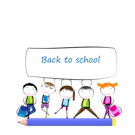 children painting: Happy girls and boys back to school