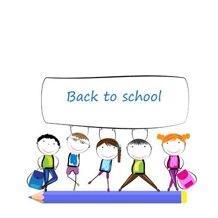 nursery school: Happy girls and boys back to school