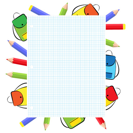 crayons: School frame with colorful crayons and backpack Illustration