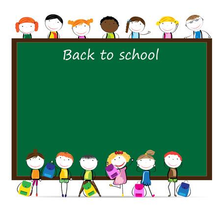niño preescolar: Niñas y los niños de nuevo a escuela Feliz