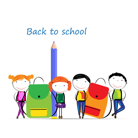 nice background: Happy girls and boys back to school