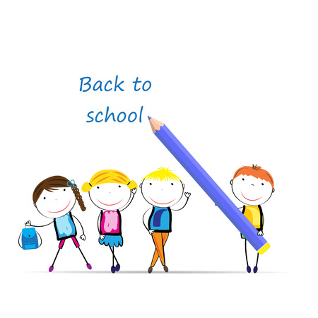 back icon: Happy girls and boys back to school