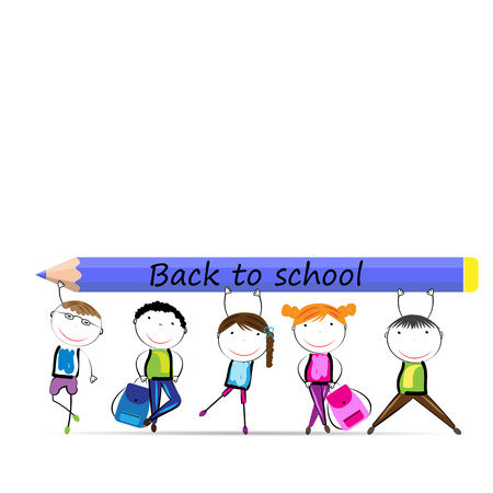 Happy girls and boys back to school