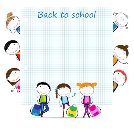 školní děti: Šťastné dívky a chlapci zpět do školy Ilustrace