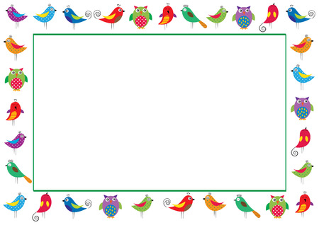 Cute and abstract frame with colorful birds
