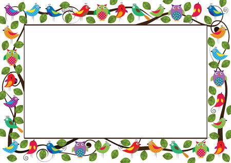 bordes decorativos: Marco de niños lindo con los pájaros de colores y leafes