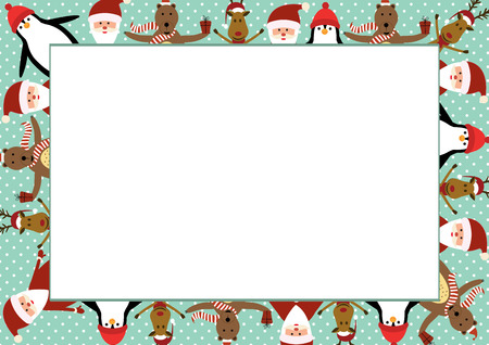 Cute christmas frame with Santa, reindeer, bear and penguin