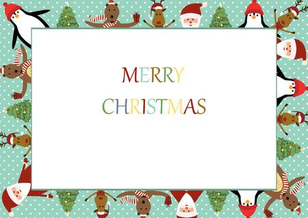 サンタ、トナカイ、熊やペンギンのかわいいクリスマス フレーム