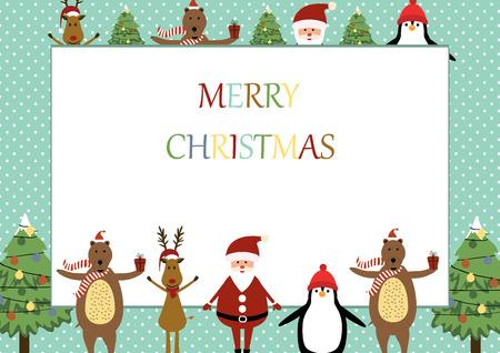 x mas background: Cute christmas frame with Santa, reindeer, bear and penguin