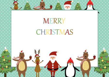 Cute christmas frame with Santa, reindeer, bear and penguin
