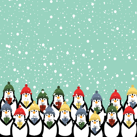cartoon penguin: Cute and abstract christmas card with happy penguins